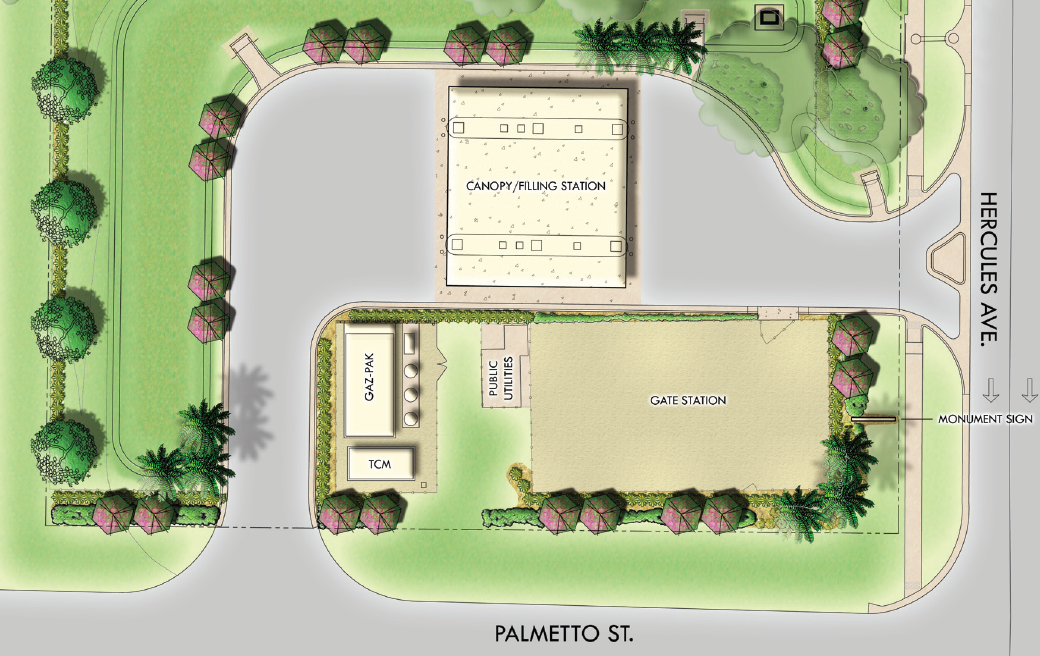 Map showing the canopy/filling station north of Palmetto St. and west of Hercules Ave.